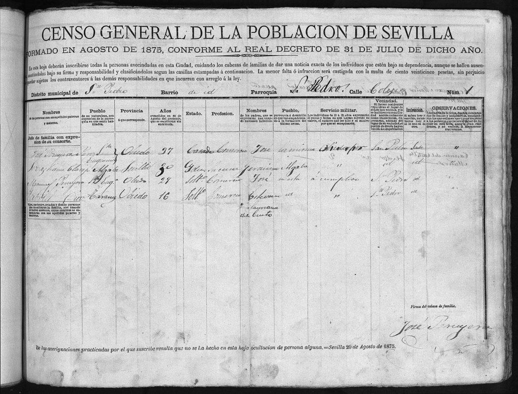José Peruyera Pérez su esposa Sebastiana Clavijo Cruz y Manuel Peruyera Pérez, Padrón Sevilla de 1875.