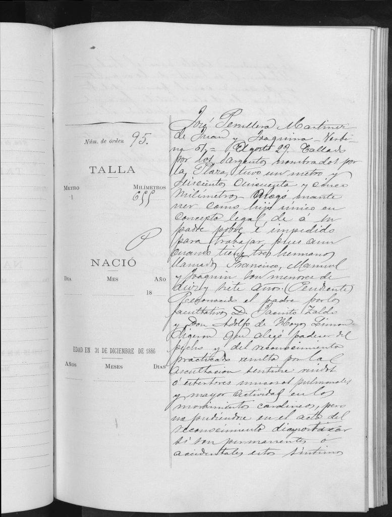 Documento de reclutamiento de José Peruyera Martínez.