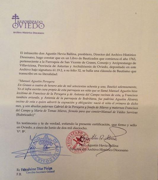 Transcripción del acta de bautismo de Manuel Agustín Peruyera Campo.