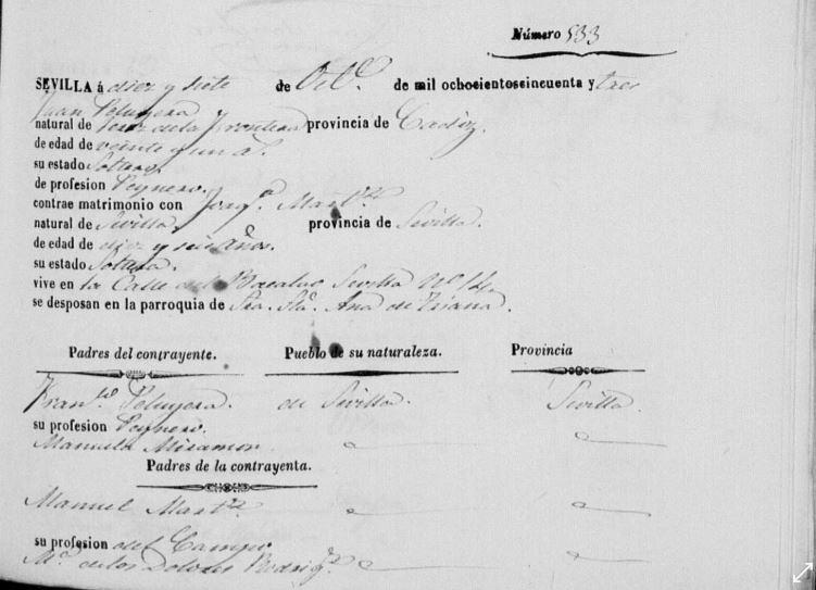 Acta de matrimonio de Juan Peruyera Miramón y Joaquina Martinez Rodriguez.