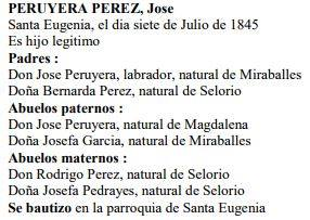Transcripción acta de nacimiento de José Peruyera Pérez.