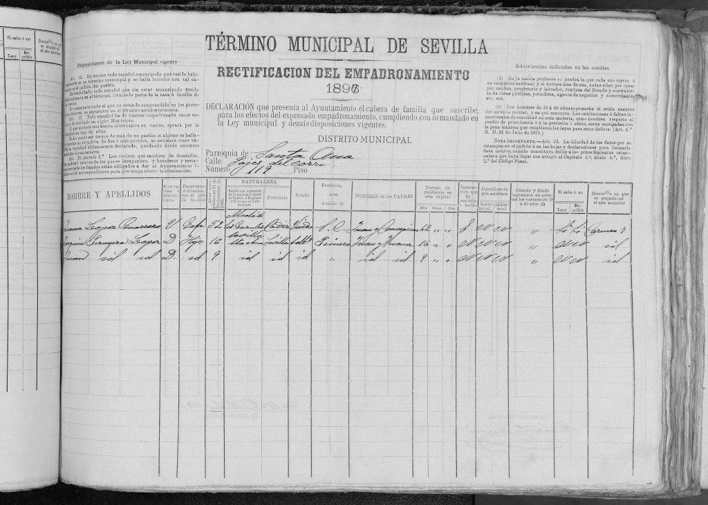 Padrón Sevilla 1896, Juana López Guerrero viuda de Juan Peruyera Miramón y sus hijos Juan y Joaquin Peruyera López.