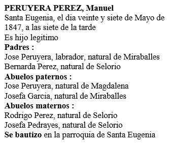 Transcripción acta de nacimiento de Manuel Peruyera Pérez.
