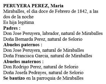 Transcripción acta de nacimiento de María Peruyera Pérez.