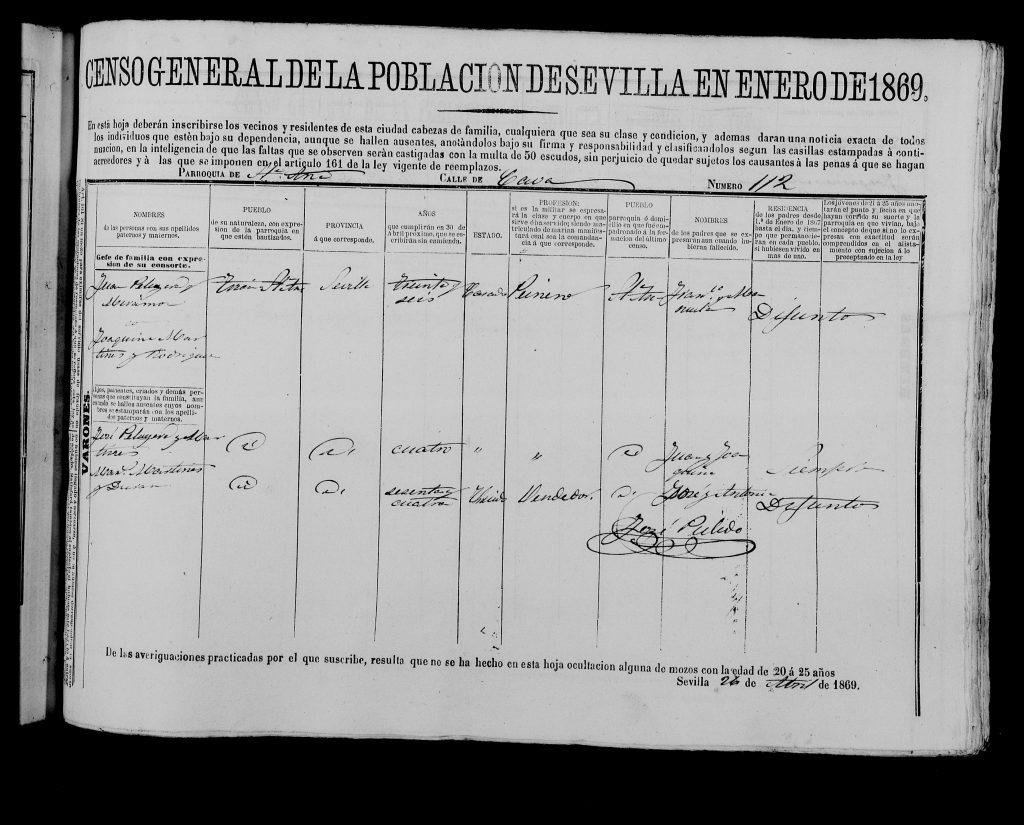 Padrón de Sevilla del 1859. Juan Peruyera Miramón y Joaquina Martinez Rodriguez con su hijo José Peruyera Martinez.