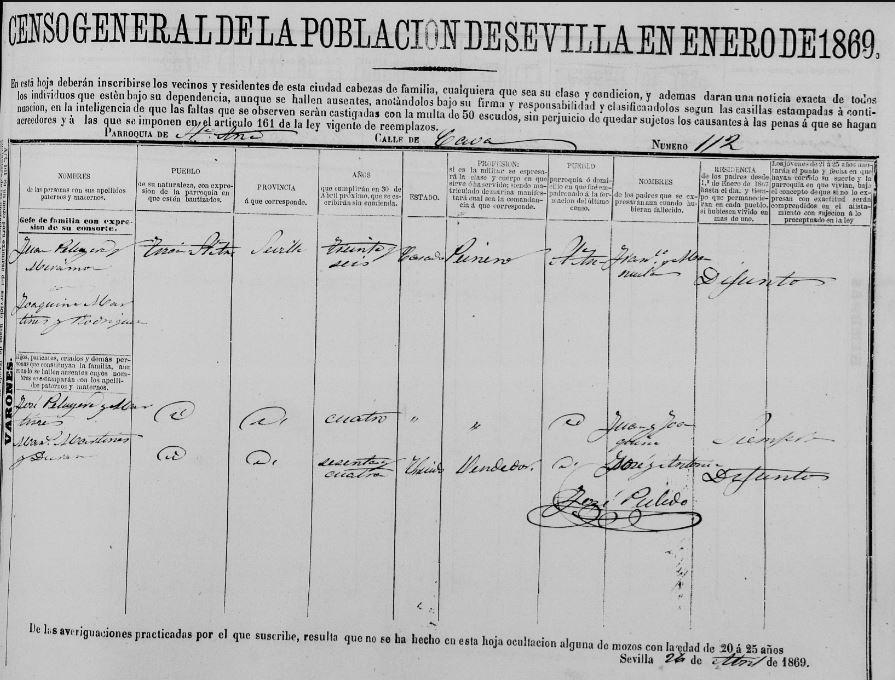 Padrón de Sevilla del 1869 registrando a José Peruyera Martinez residiendo junto a sus padres Juan Peruyera Miramón y Joaquina Martinez Rodriguez.