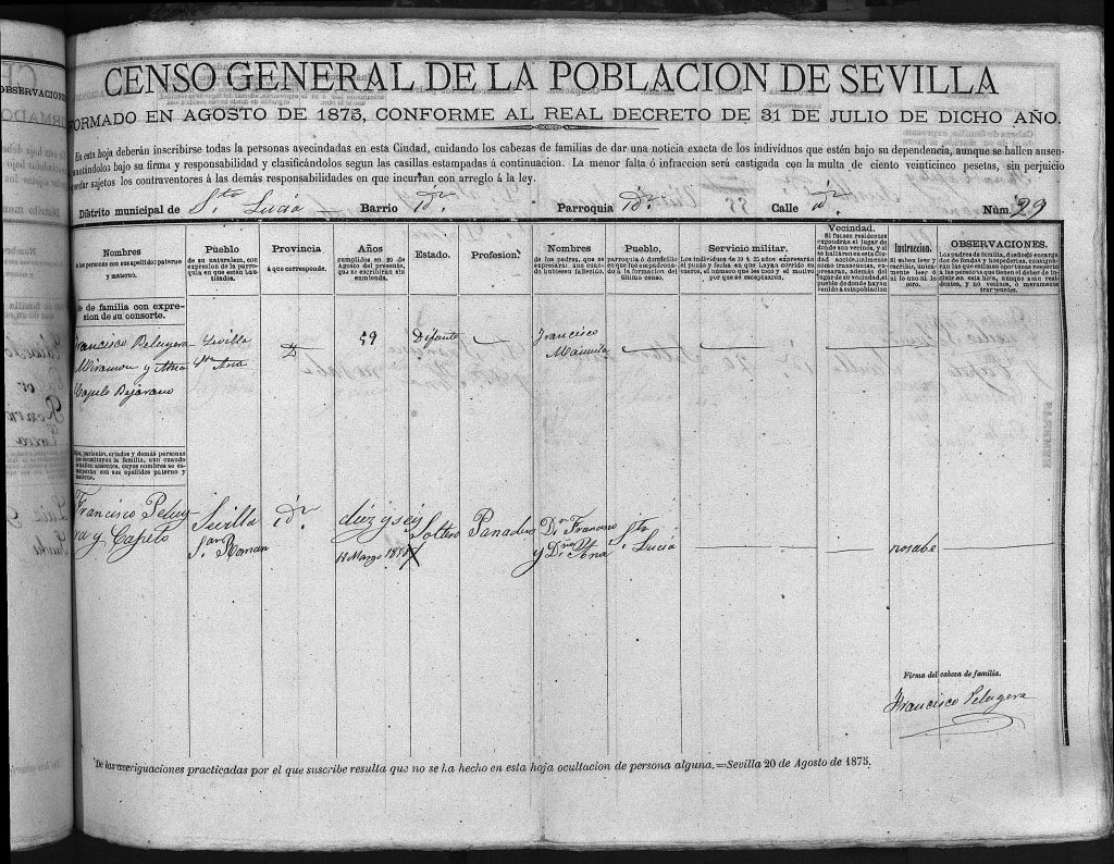 Padrón Sevilla 1875 Francisco Peruyera Miramón y familia.