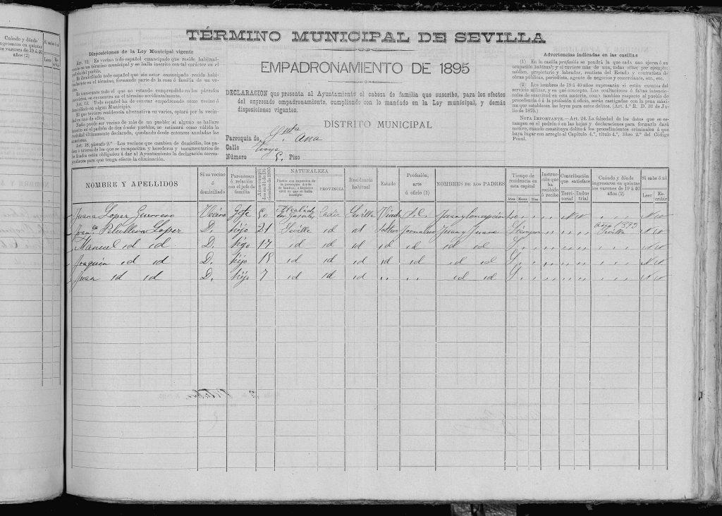 Padrón sevilla 1895, familia de Juan Peruyera Miramón (ya fallecido) de su segundo matrimonio.