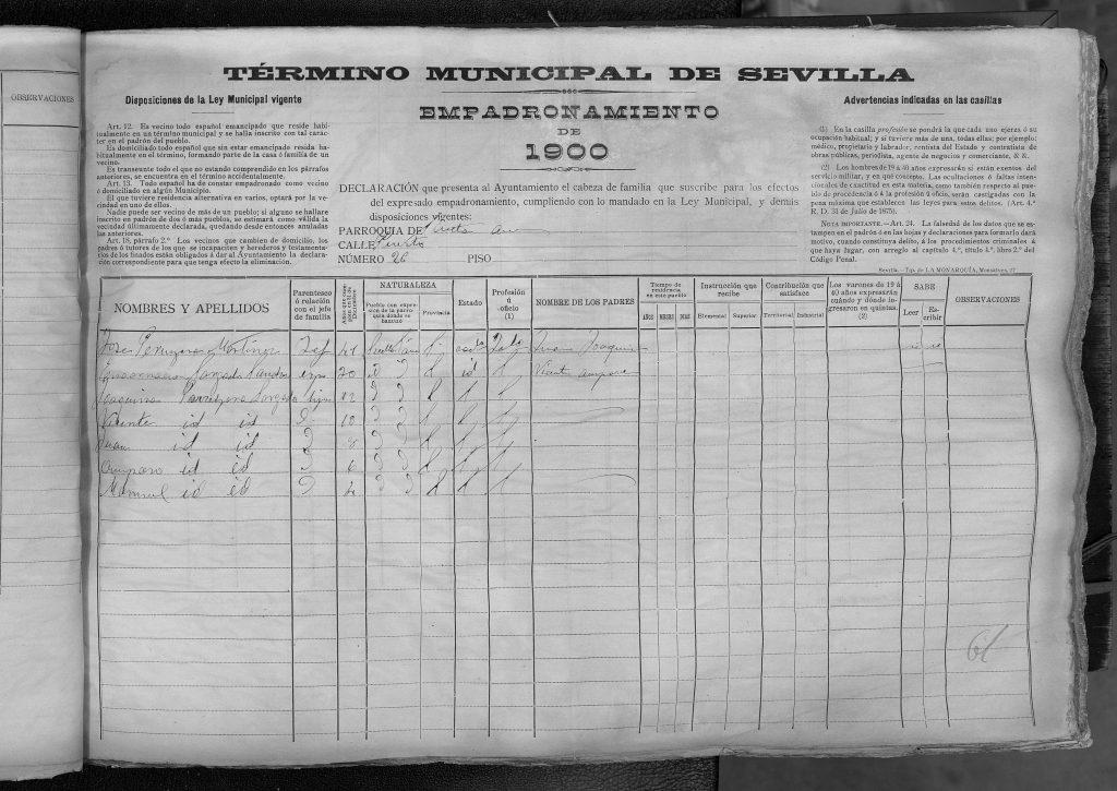 Padrón Sevilla 1890