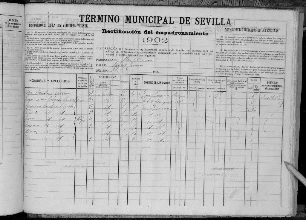 Padron Sevilla 1902