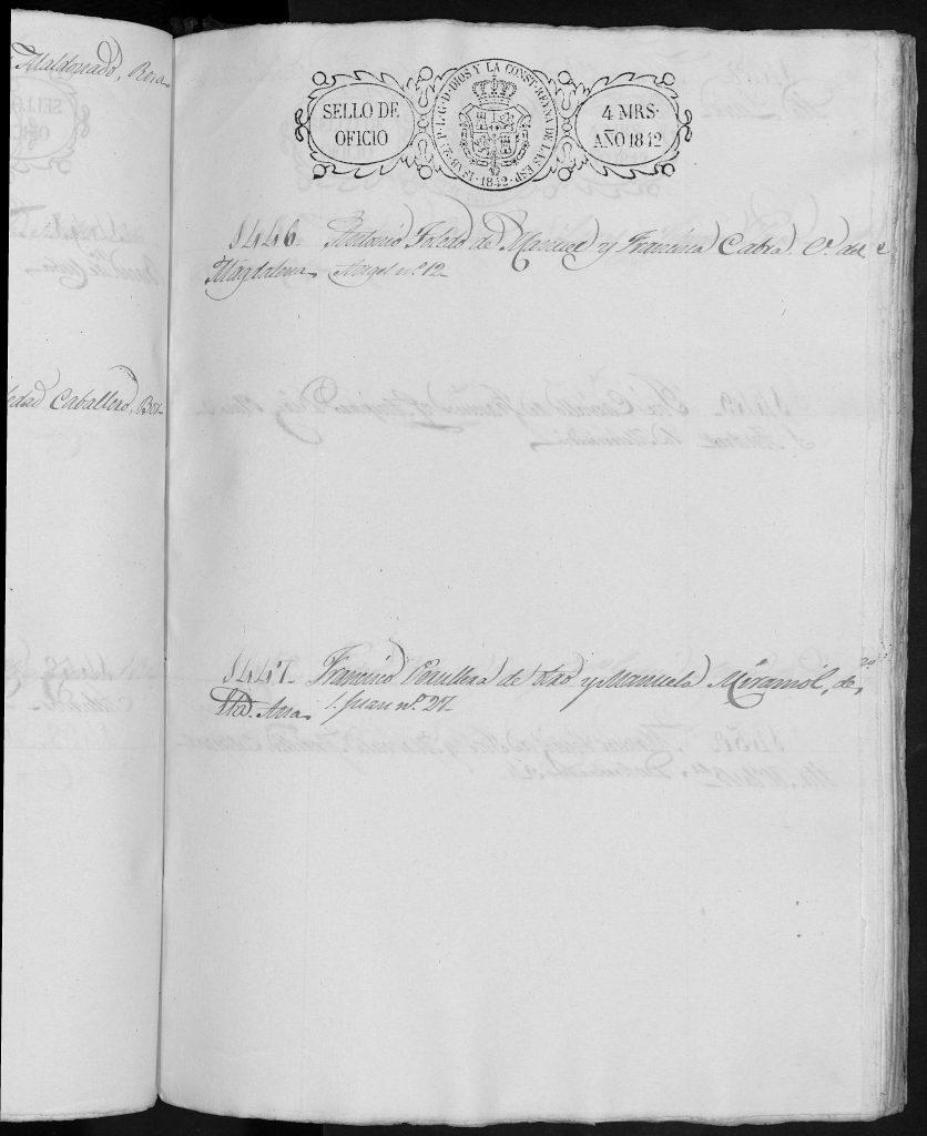 Documento de reclutamiento de Francisco Peruyera Miramón del 25-5-1842.