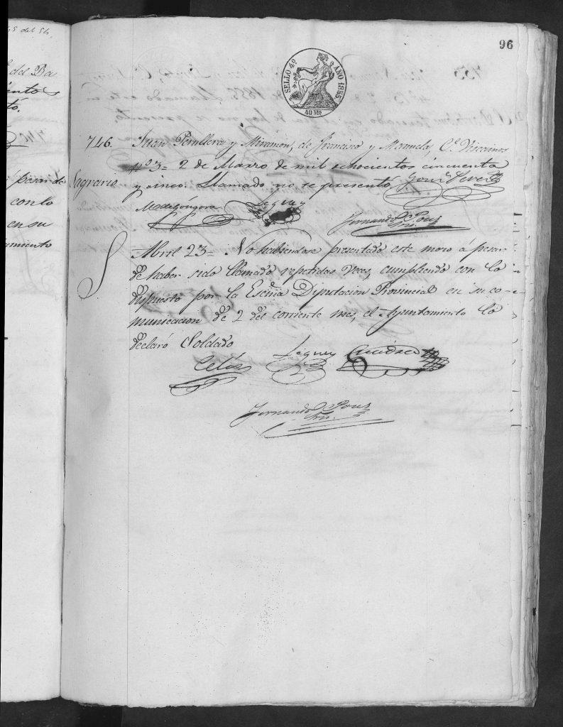 Documento de reclutamiento de Juan Peruyera Miramón.