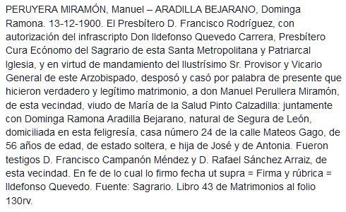 Transcripción partida de matrimonio de Manuel Peruyera Miramón y Dominga Ramona Aradilla Bejarano.