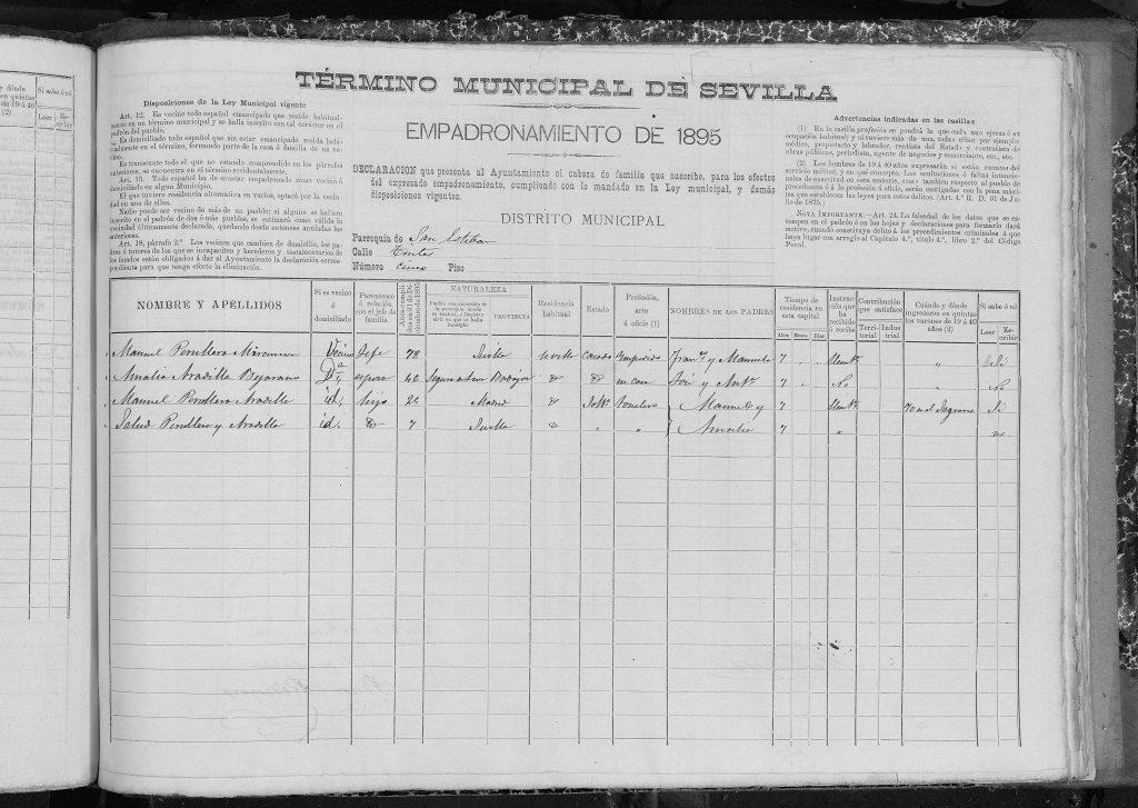 Padrón Sevilla 1895, Manuel Peruyera Miramón con Dominga Ramona Aradilla Bejarano e hijos.