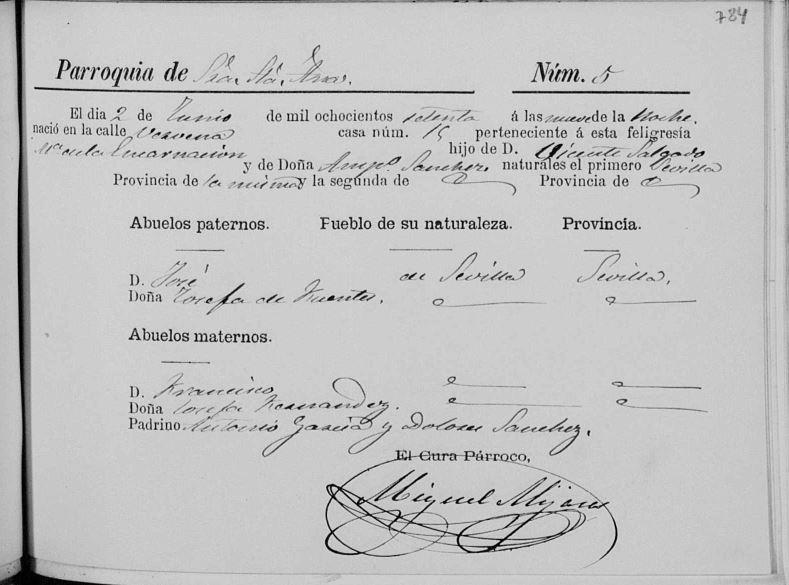 Acta de nacimiento de Encarnación Salgado Sánchez.
