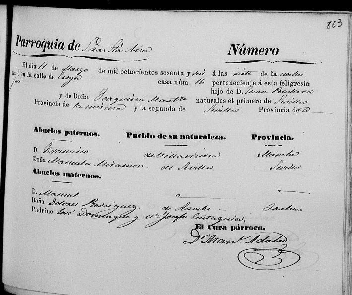 Acta de nacimiento de José Peruyera Martínez.