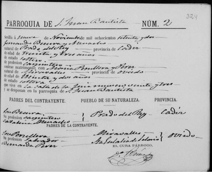 Acta de matrimonio de María Peruyera Pérez con Fernando Becerra Menacho.