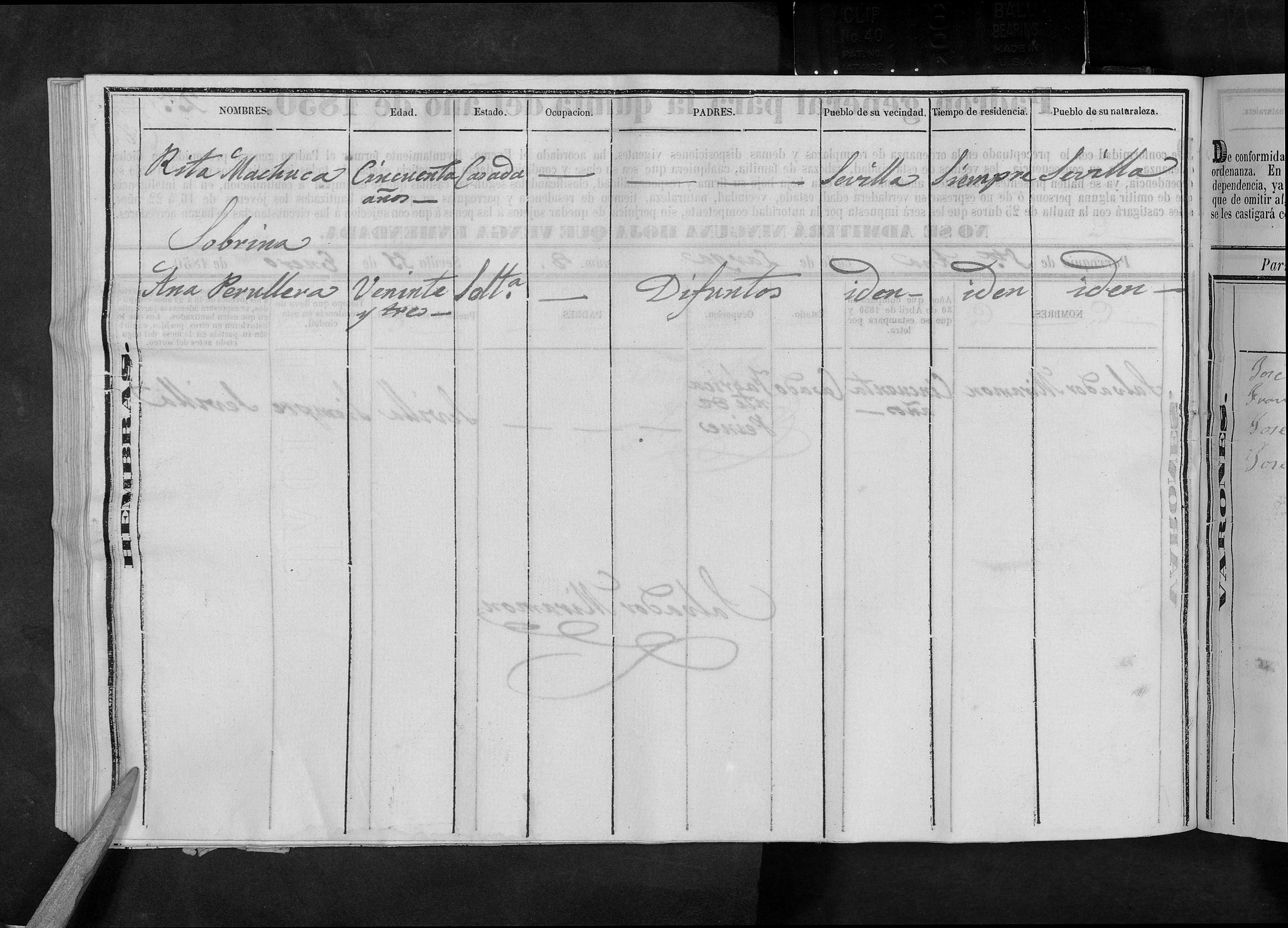 Segunda pagina del padrón de quintas del año 1842