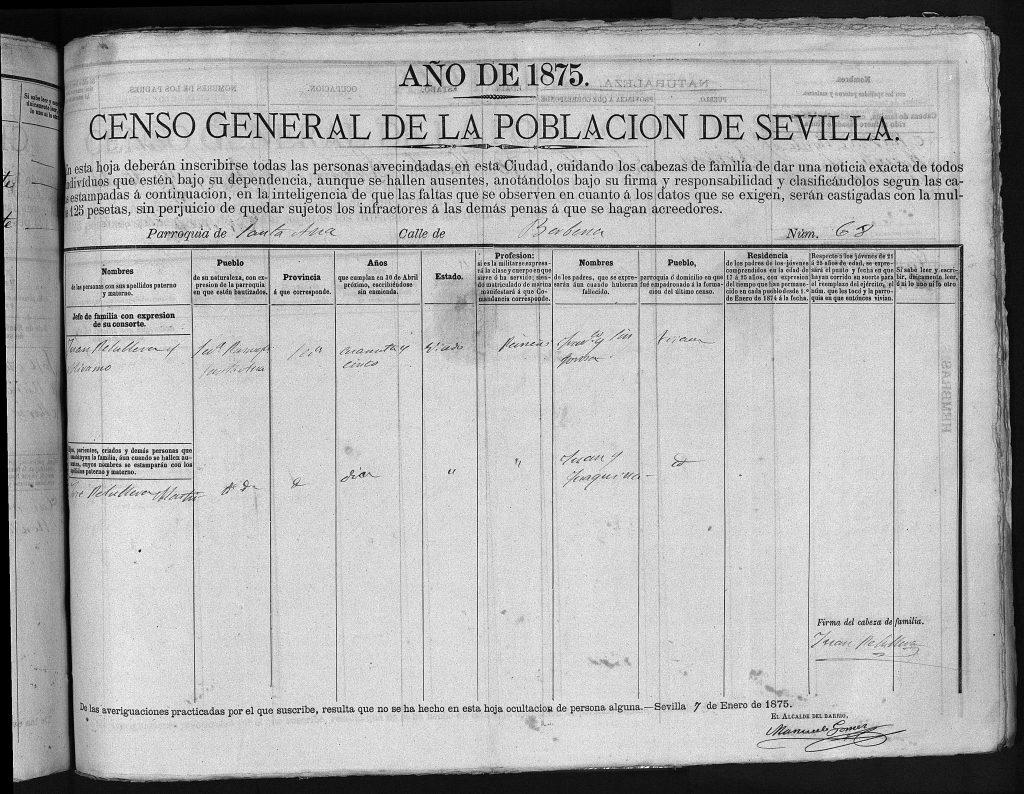 Primera Pagina del padrón de Sevilla del 1875 con Juan Peruyera Miramón y su hijo José Peruyera Martínez.