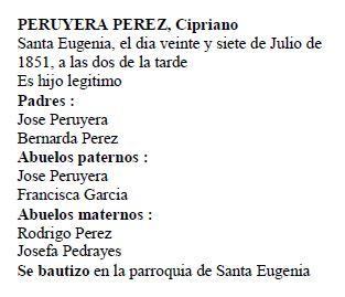 Acta de nacimiento de Cipriano Peruyera Pérez.