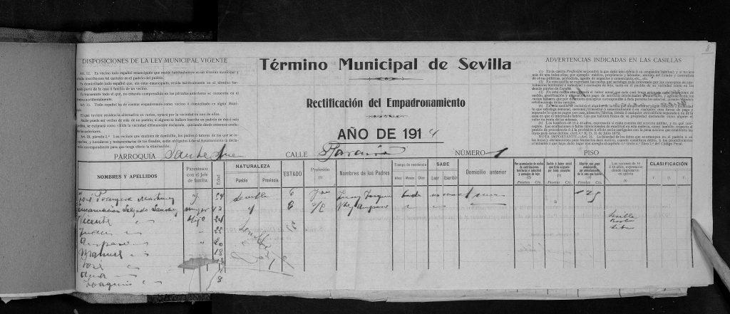 Primera pagina del padrón de Sevilla del 1914.