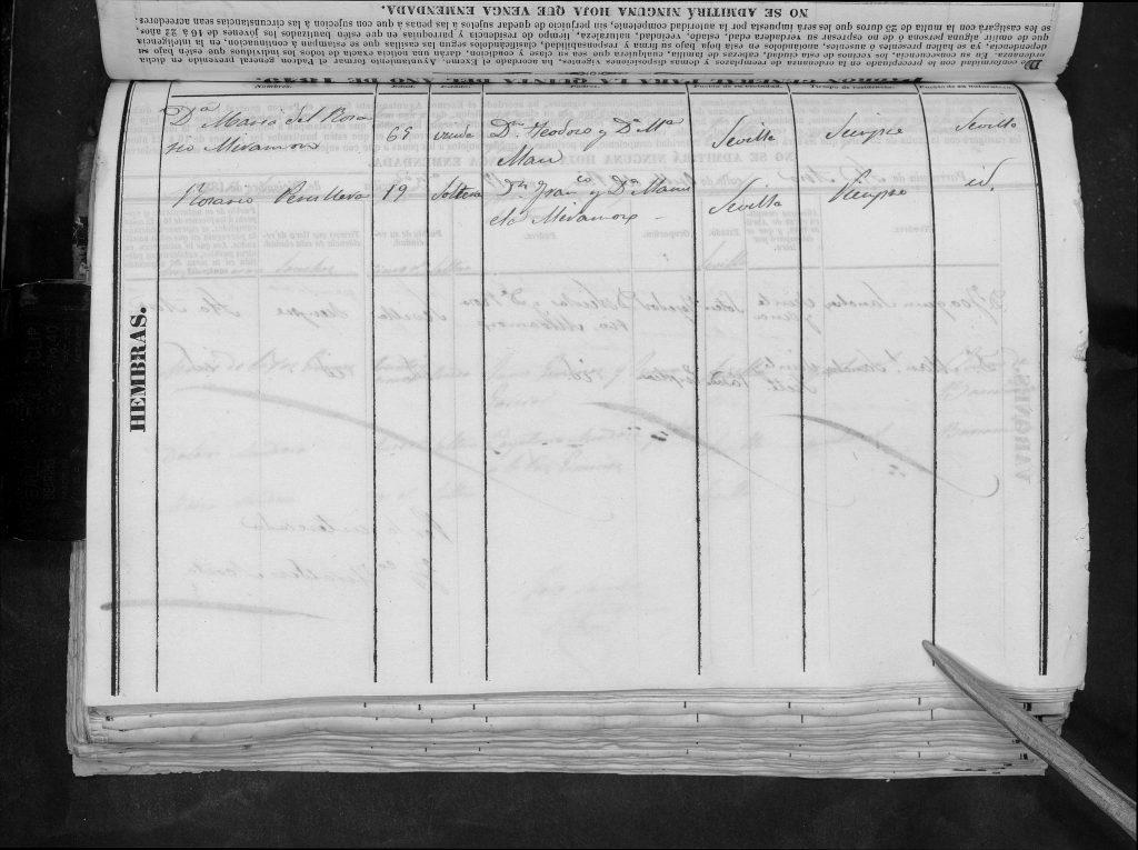 María del Rosario Peruyera Miramón en casa de su tía Rosario Miramón Aman. Segunda pagina del padrón de quintas de Sevilla del 1849.