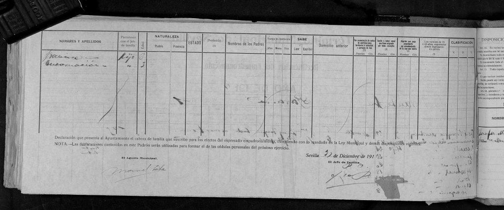 Segunda pagina del padrón de Sevilla del 1914.