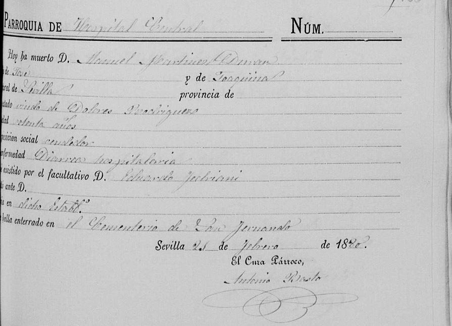 Acta de defunción de Manuel Mart ínez Duran, padre de Joaquina Martínez Rodríguez.