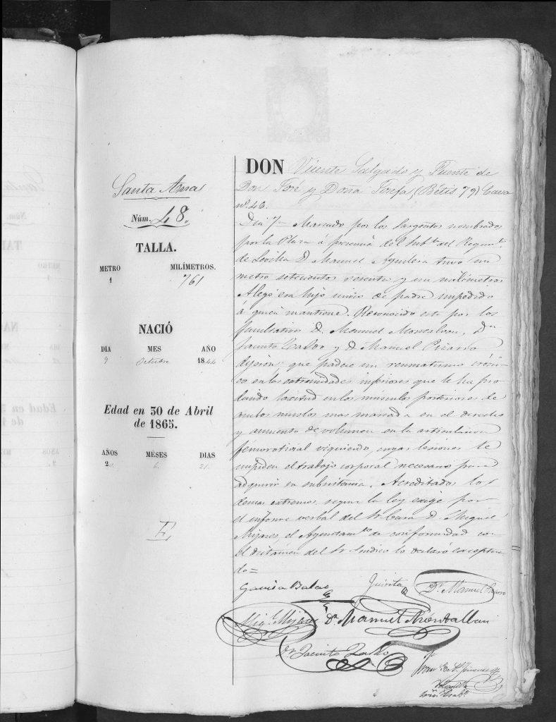 Documento de reclutamiento de Vicente Salgado Fuentes padre de Encarnacion Salgado Sanchez.