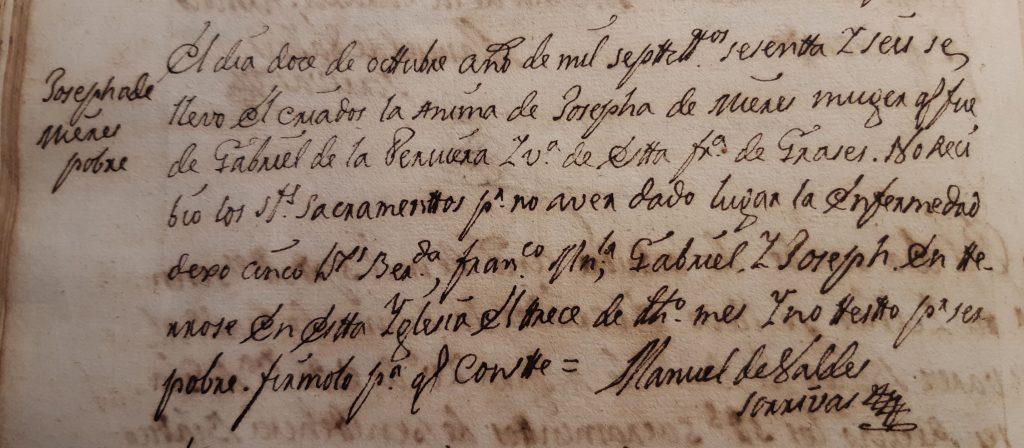 Acta de defunción en Grases de Josefa de Mieres.