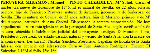 Transcripción del expediente matrimonial de Manuel Peruyera y Salud Pinto.
