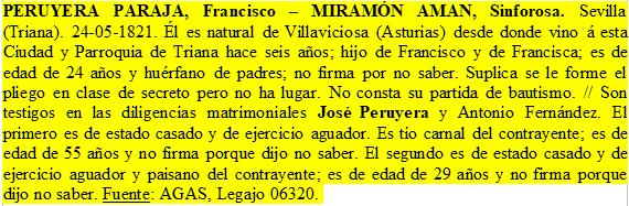 Transcripción del expediente matrimonial de Francisco Peruyera Paraja y Manuela Sinforosa Miramón Aman .