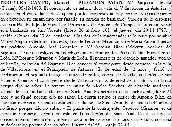 Trancripción del expediente matrimonial de Manuel Peruyera Campo y María del Amparo Miramón Aman.