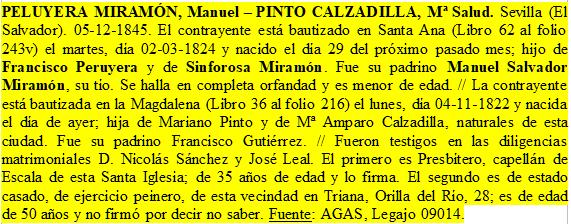Transcripción de la partida matrimonial de Manuel Peruyera y Salud Pinto.