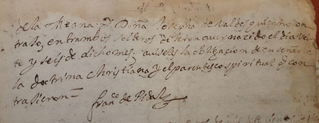 Acta de bautismo de Gabriel de la Peruyera (segunda parte).