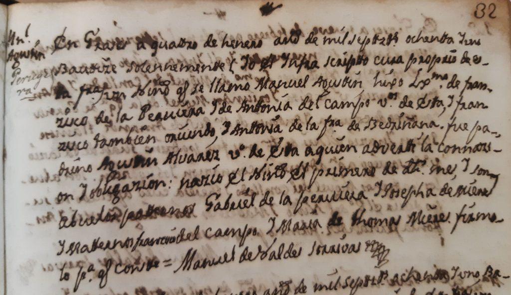 Acta de bautismo de Manuel Agustín Peruyera Campo.
