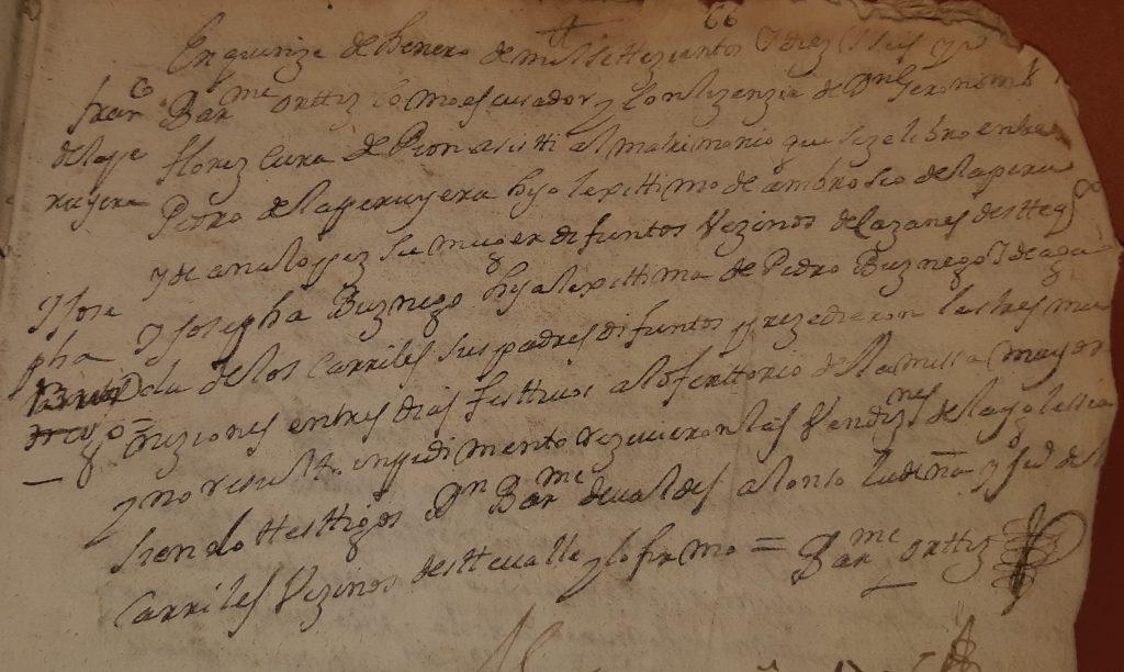 Acta de matrimonio de Pedro de La Peruyera y Josefa Buznego.