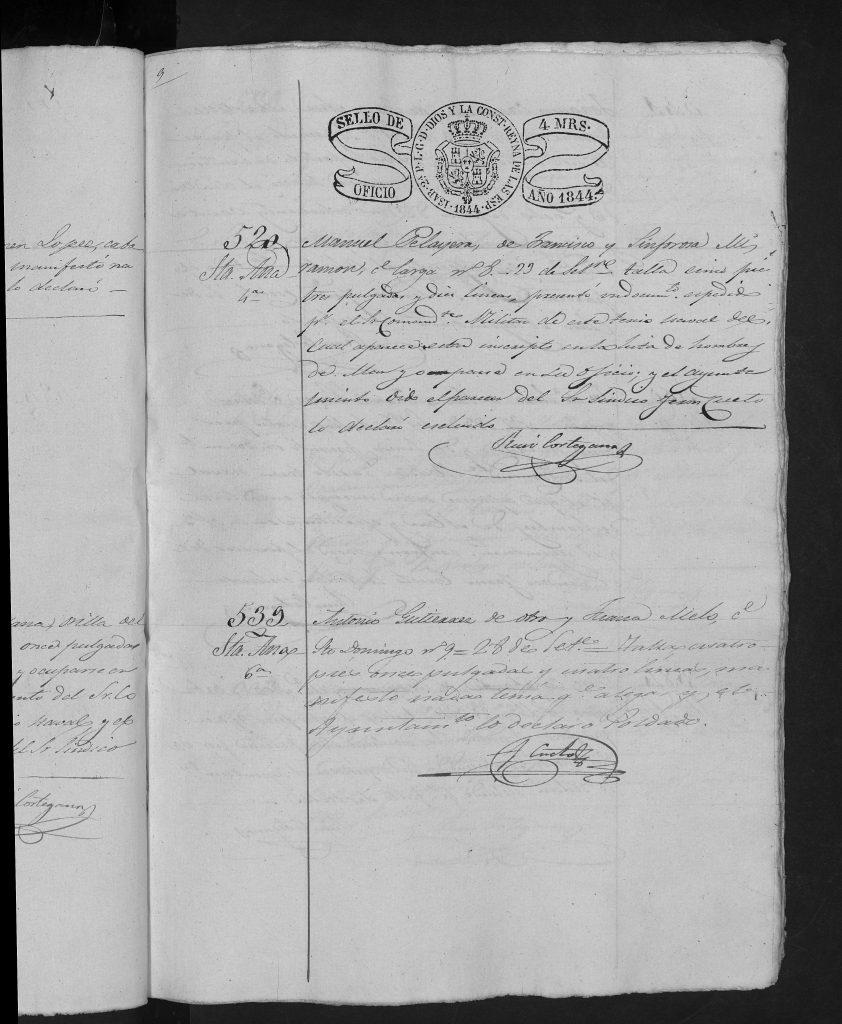 Documento de Reclutamiento de Manuel Peruyera del 23-9-1844.