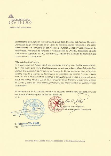 Transcripción del acta de bautismo de Manuel Agustín.